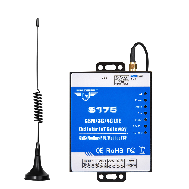 Wireless GSM Industrial IoT Gateway For Intelligent Farm Dual Sim Card 2 RS485 Support Modbus RTU To SMS Cloud Platform S175