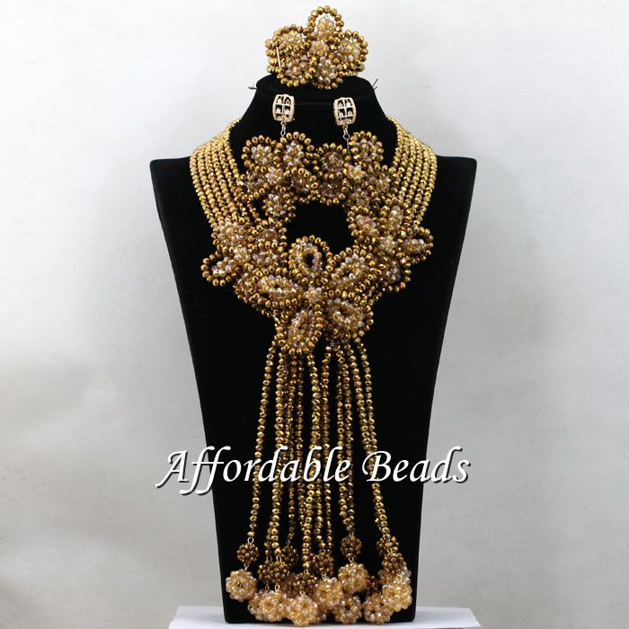 Unique African Beads Set Nigerian Nice Costume Jewelry Necklace Sets Handmade Design HEB020