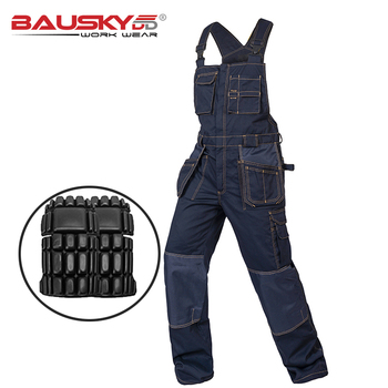 Multi Pocket Work Bib Overalls Men With Knee Pads Working Uniforms Repairman - discount item  16% OFF Workplace Safety Supplies
