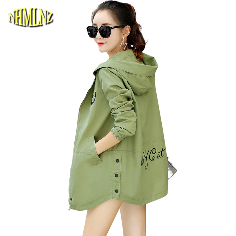 2019 New Autumn Letters   Trench   Women Long-sleeved Hooded Thin Windbreaker Casual Slim   Trench   Coat Female Large size 3XL DAN306