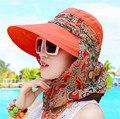 Nuevo de Las Mujeres de Sol Sombrero Salacot Sunhat Del Verano Femal Ciclismo Al Aire Libre Plegable Beach Sun Sombreros de Verano Sombreros de Ala Grande de Las Mujeres cara-ocultar