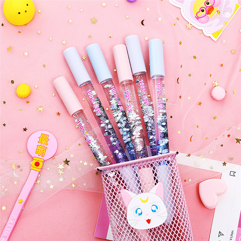 Pens, Pencils & Writing Supplies Lower Price with Rainbow Color Liquid Hourglass Ballpoint Pen With Lgiht Lovely Magic Crystal Sand Pen Plastic For Girl Student School Stationery Ballpoint Pens