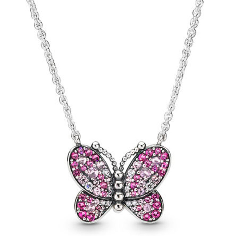 5a6536f2f2584 US $9.31 35% OFF|Dazzling Pink Butterfly Arrow Rose Brilliant Bow Shine  Flower Stem Necklace For Pandora Jewelry 925 Sterling Silver Necklace-in ...