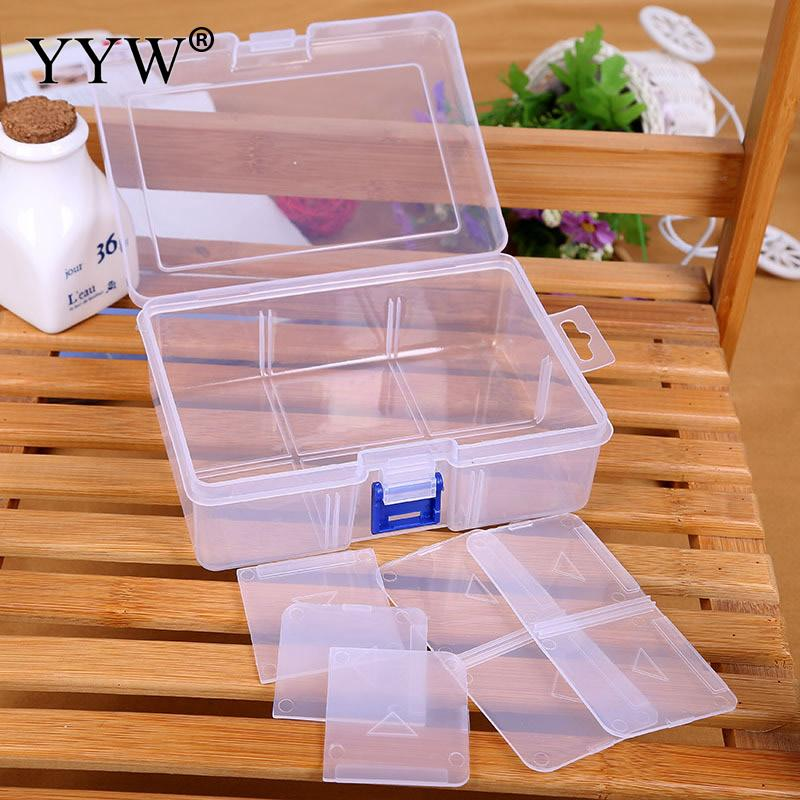 Big 6 Cells Plastic Tool Box Case Jewelry Rings Craft Organizer Storage Beads tiny stuff Compartments Containers Makeup Box