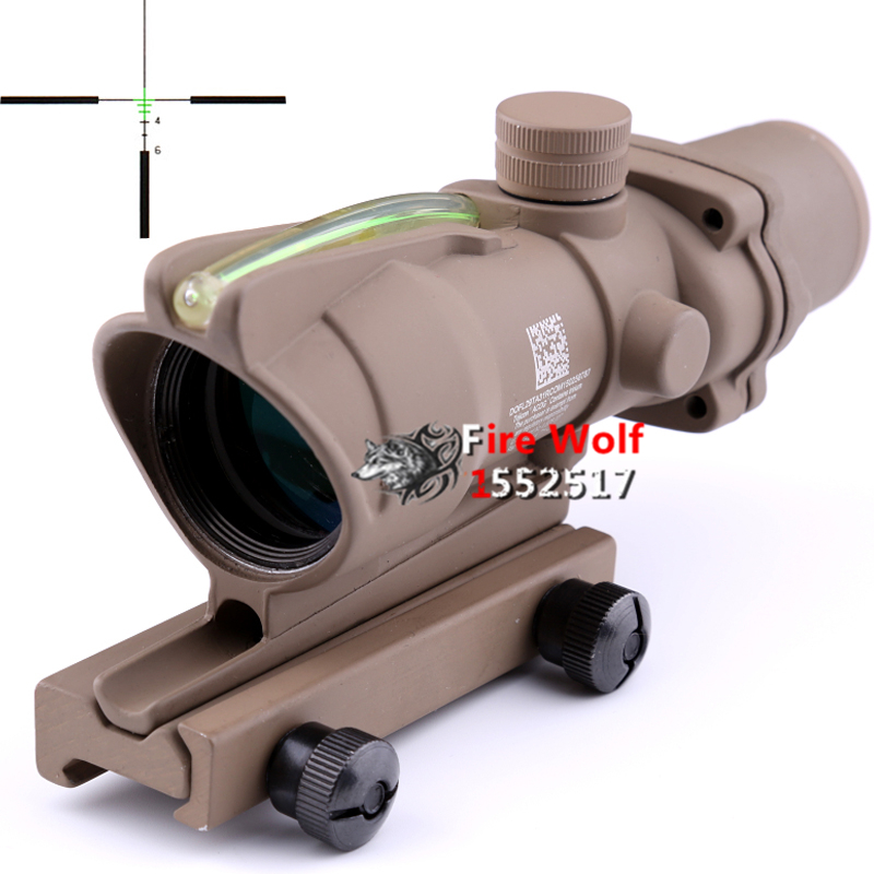 Tan Good ACOG 4x32 Green Illuminated Crosshair.223 Ballistic Reticle Tactical rifle Scope For Air Gun Airsoft hunting tactical vector optics 4x32 compact rifle scope weapon acog 223 gun sight 3 colour illuminated 2 options reticle free shipping