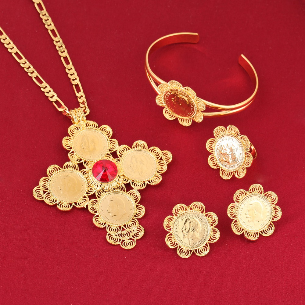 New Traditional Ethiopian Wedding Jewelry Sets Gold Color Jewelry Bridal Romantic Jewelry for Women