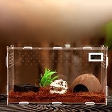 Terrarium Vivarium Kit With Magnet Latch Water Bowl Substrate Artificial Plant For Gecko Lizard Snake Tarantula Reptile Acrylic