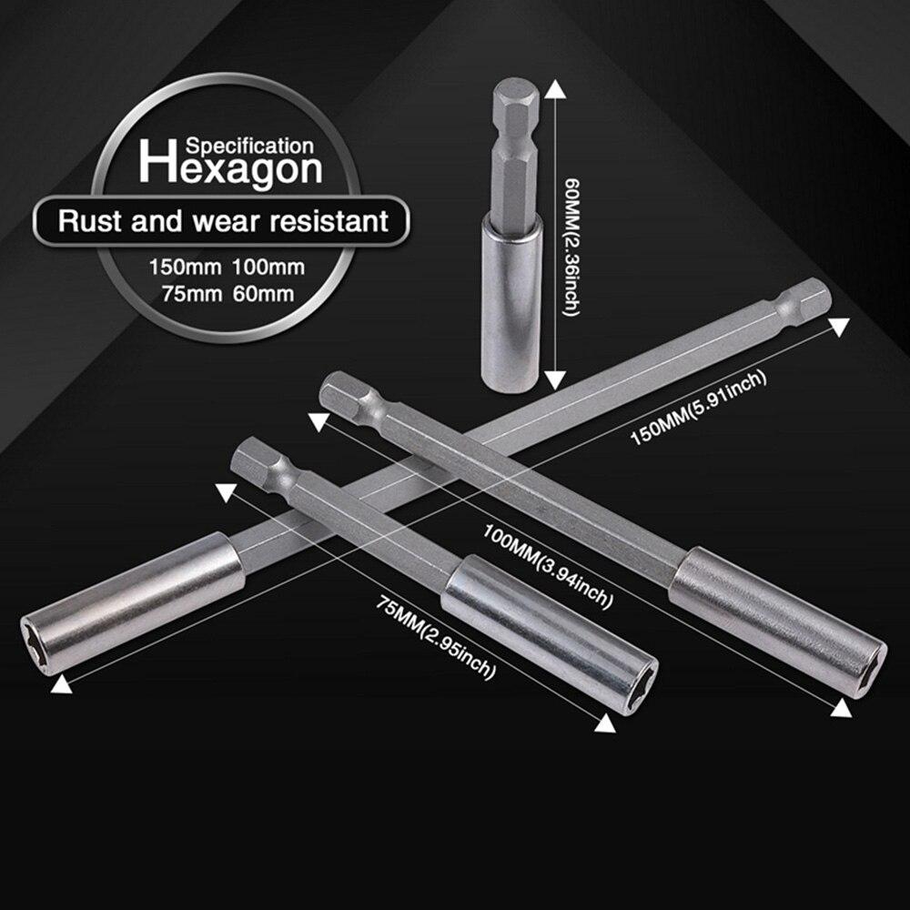 1/4 Inch Hex Magnetic Screwdriver Bit Holder 60/75/100/150mm Quick Change Extension Tip Bar 1/4