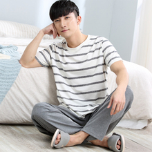 CR Cotton Long Sleeve O-neck Pajama For Men Spring Autumn Men Pajamas Set Women Sleepshirts Couple Striped Sleepwear Homewear