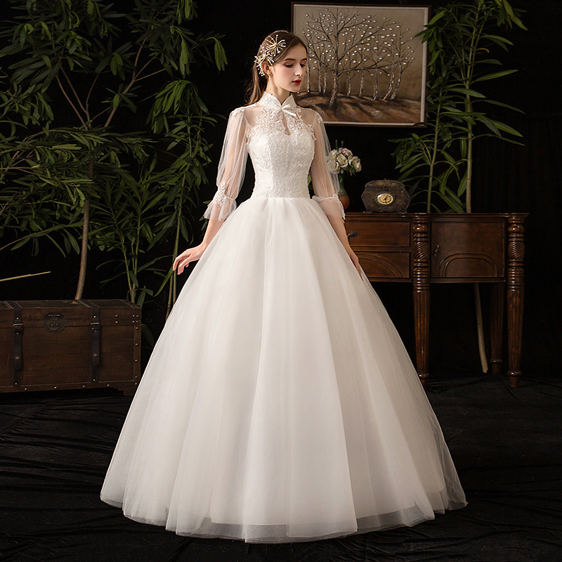 2019 New High Neck Three Quarter Sleeve Wedding Dress Sexy Illusion Lace Applique Plus Size Vintage Bridal Gown Robe De Mariee L-in Wedding Dresses from Weddings & Events