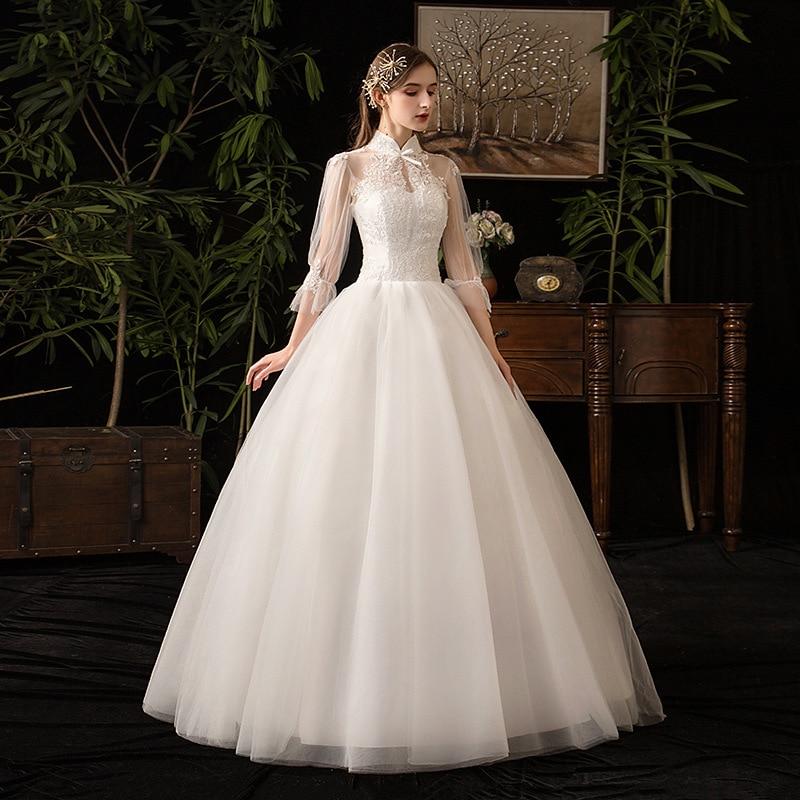 2019 nouveau col haut trois quart manches Robe De mariée Sexy Illusion dentelle Applique grande taille Vintage Robe De mariée Robe De Mariee L