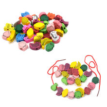 25 x Cartoon Animal Beads +1 x Random Wooden Toys Stringing Game Child Toy Heart-Shaped Beads Mixed Animals Fruit Gift(China)
