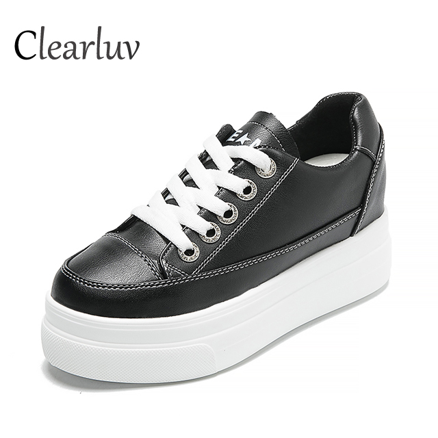 Hot spring round head 4 cm Lok Fu shoes casual flat shoes lace female autumn crawler female sports shoes size 35 39 C0882 in Women 39 s Vulcanize Shoes from Shoes