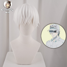 Cells at Work White Blood Cell Short Cosplay Wig Synthetic Hair Halloween Costume Hakkekkyuu Party Anime Wigs + Cap