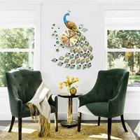 Large Diamond Quartz geekcook Peacock Wall Clock European Modern Simple Personality Creative Living Room Bedroom Clocks Wall