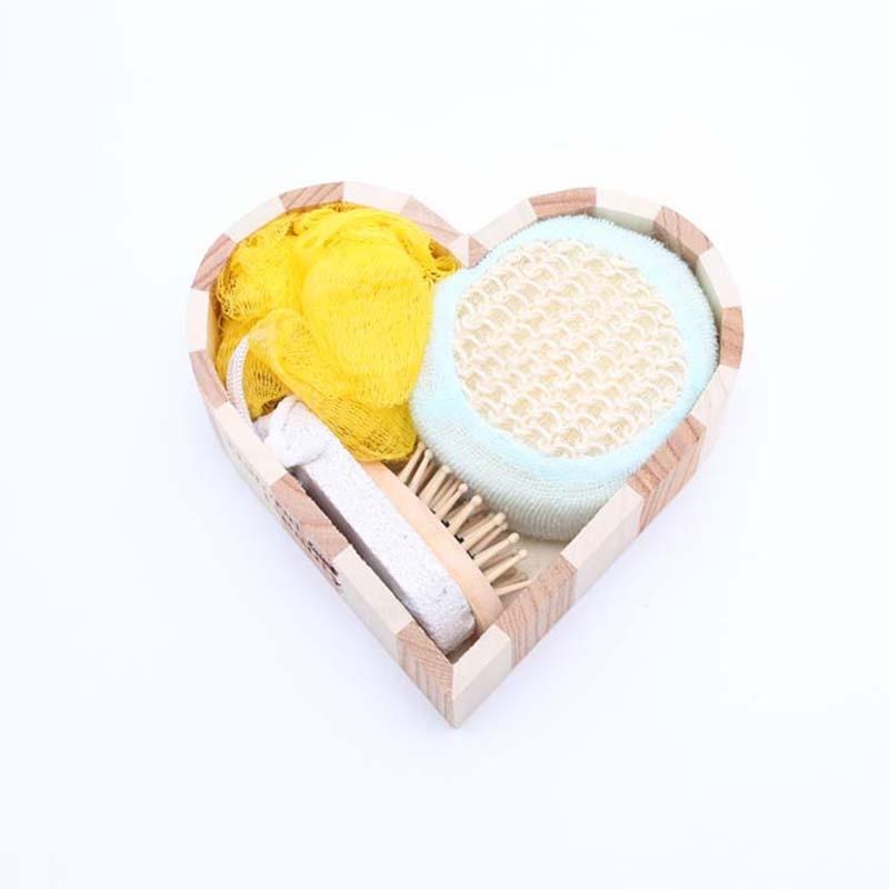 4pcs/set Women Man Girl Kid Baby Bath Show Spa Gift Set Kit Include Bath Body Clean Sponge Hair Brush Foot File Pumice Stone