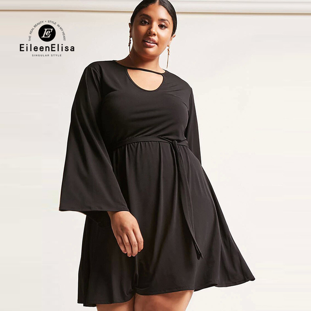 Eileen Elisa Dresses Overweight Women Fashion 2017 Autumn Flare Sleeve Y Black Dress Size