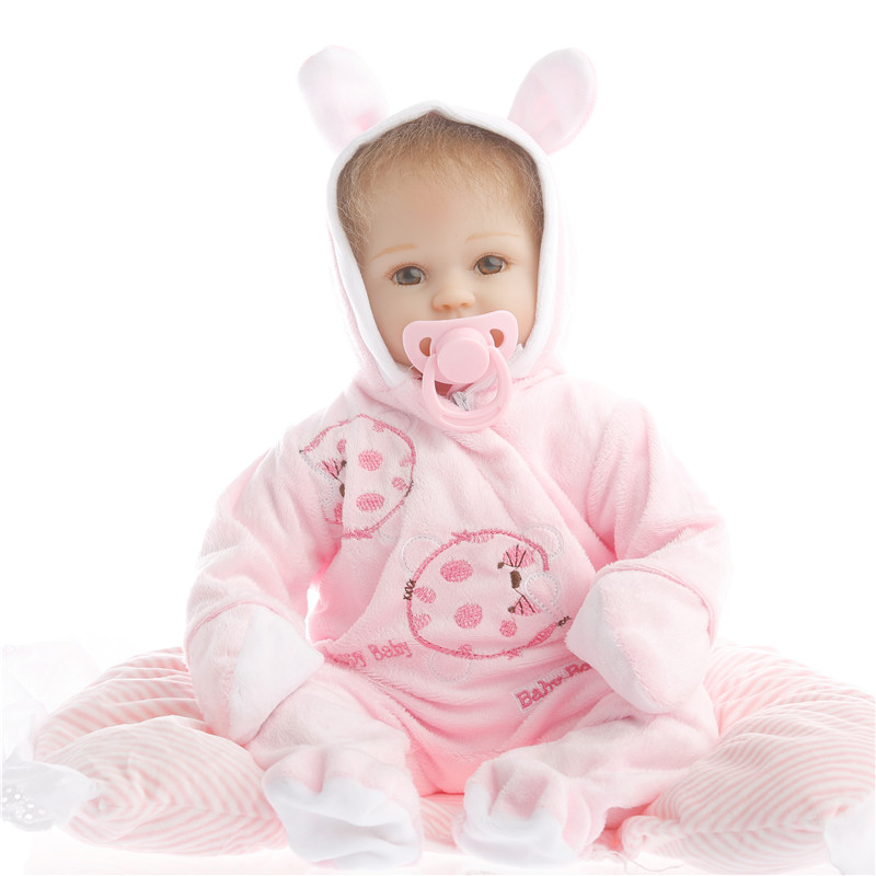 SanyDoll 16 inch 40 cm Silicone baby reborn dolls, lifelike doll reborn Lovely Pink conjoined doll Boys and girls holiday gifts