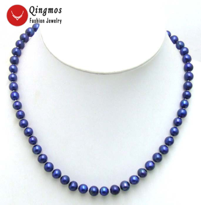 Qingmos Dark Blue Pearl Necklace for Women with Natural 7-8mm Round Freshwater Pearl Chokers Necklace 17 Women Jewelry 5450