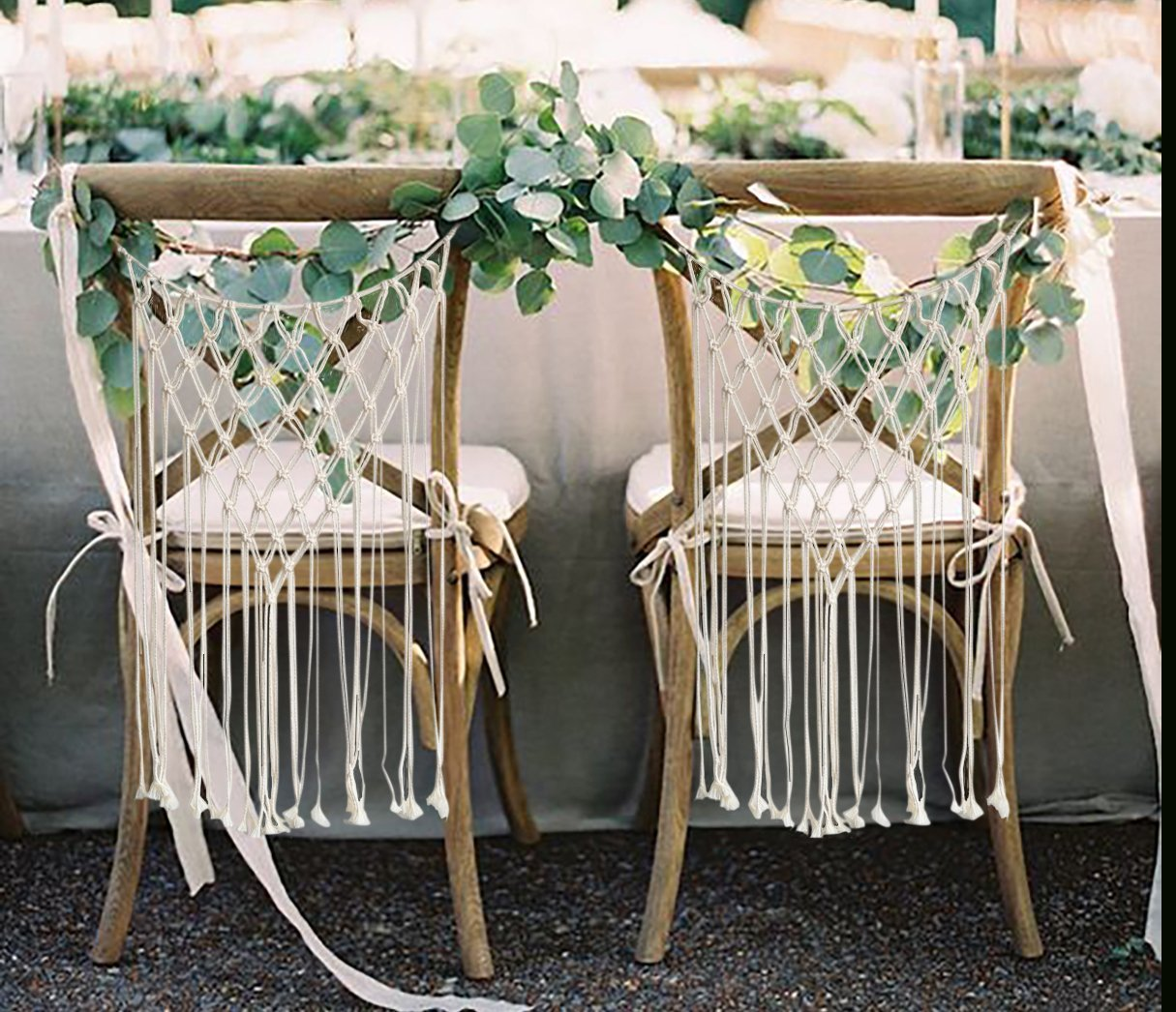 These Macrame Chair Backs From FLBER Is Perfect For Wedding And Ceremony.  Add A Warm, Boho Touch To Your Home.