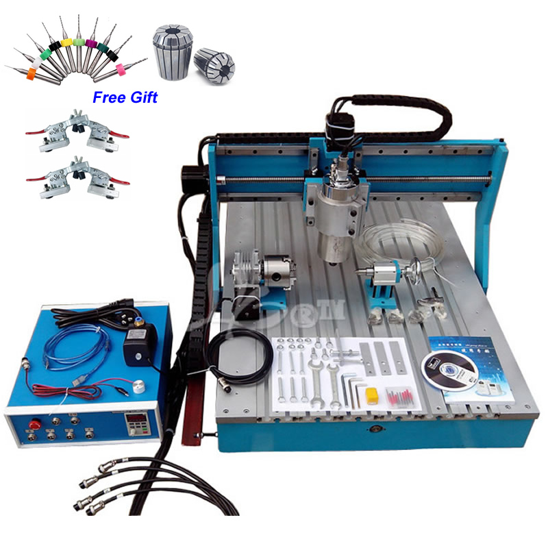Mini CNC Router 6090 Rotary Axis 1.5KW 4  Engraving Machine With Linear Rail Guide
