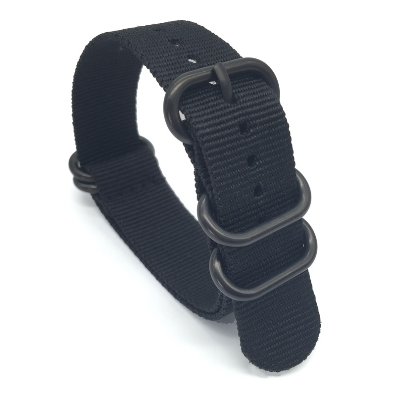 Black Watchband 20mm Solid Black Military Nato Fabric