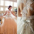 Bela Chic lantejoulas Beading Sheer voltar vestidos de noiva Vintage 2015 alta Neck Sexy ver através vestido de baile vestidos de casamento baratos
