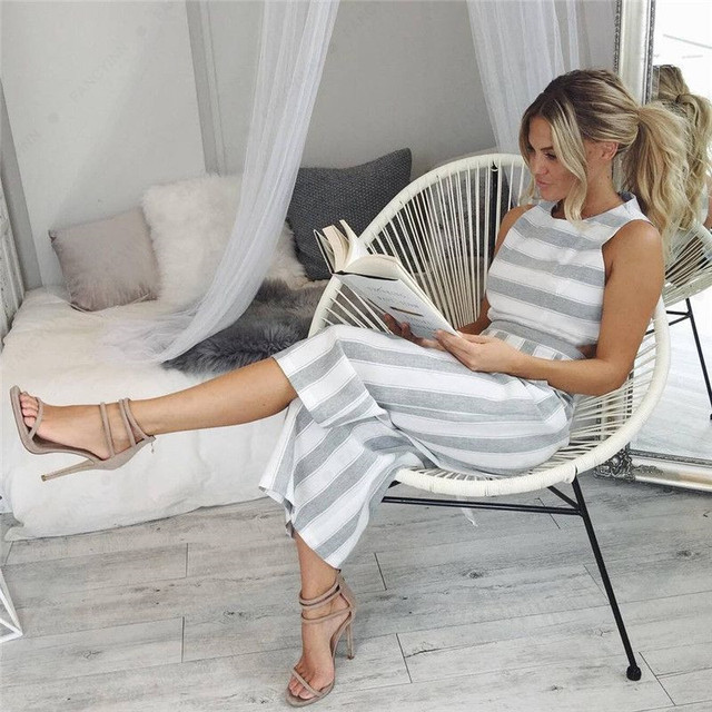 Women's Casual Striped Rompers