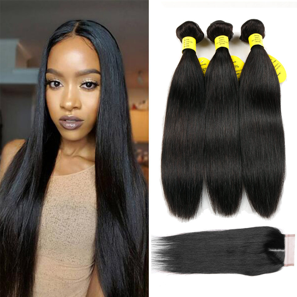Queen like Products Human Hair Weave Bundles With Closure Non Remy Weft 3 Bundles Brazilian Straight Hair Bundles With Closure