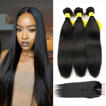 Queen like Products Human Hair Weave Bundles Med Closure Non Remy Weft 3 Bundles Brazilian Straight Hair Bundles With Closure