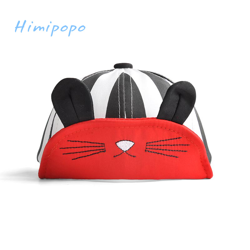 HIMIPOPO Summer Baby Embroidery Cat Baseball Cap with Ear Baby Boy Girls Beret Stripe Hats Lovely