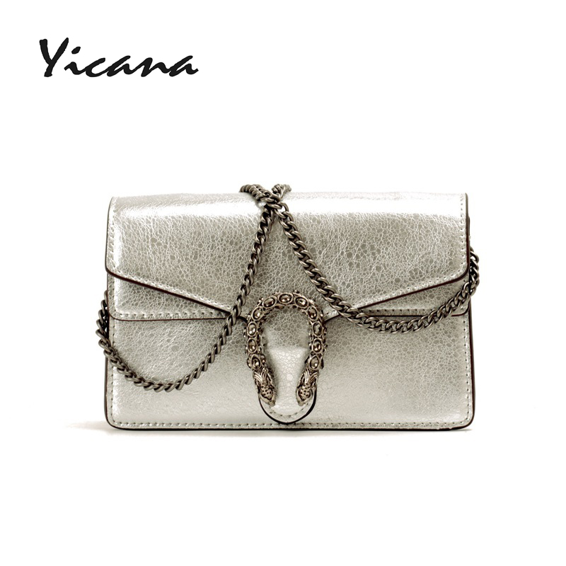 цены Yicana 2018 new tiger and snake veins burst Cow leather women handbag Crossbody Bag Dionysian fashion lady small package