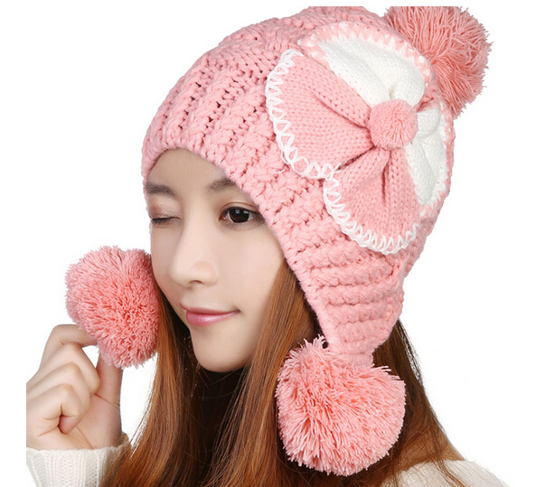BomHCS  5 Colors Kawaii Cute Winter Warm Ear Muff Women Handmade Crothet Knit Hat Beanie Cap With Big Flower bomhcs cute women autumn winter warm thick handmade knit hats beanie cap hat