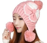 BomHCS 5 Cores Kawaii Bonito Inverno Quente Muff Da Orelha Mulheres Handmade Crothet Knit Hat Beanie Cap Com Flor Grande