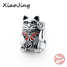 hot deal buy 925 sterling silver animal lucky cat charms beads fit original european charm bracelet beads diy jewelry making for women gifts