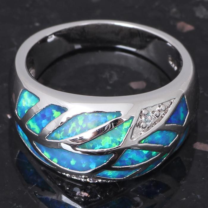 Модный хороший подарок розовый кристалл Синий огненный опал Серебро штампованное кольцо США Sz#7,5 ювелирные изделия OR304A