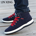 LIN KING Fashion Men Winter Shoes Outdoor Solid Flocks Skulls Patten Lace Up Shoes High-top Cotton-padded Warm Plush Shoes