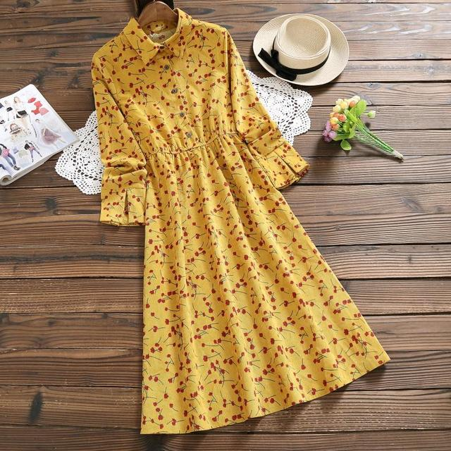 Navy Blue,Yellow Cherry Print Dress 2018 New Women Long Sleeve Floral Printed Long Corduroy Dresses Lady Vintage Vestidos M-XXL