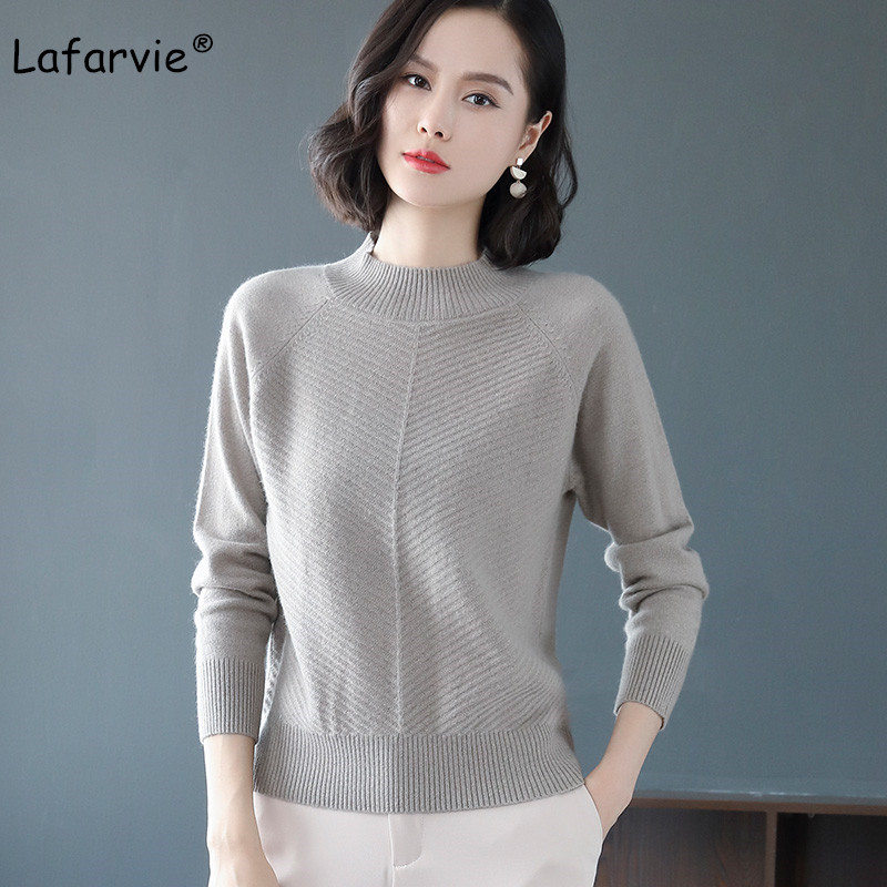 Lafarvie Autumn Winter Turtleneck Knitted Sweater Women Pullover Long Sleeve Thick Warm Fashion Striped Knitting Sweater 7 Color