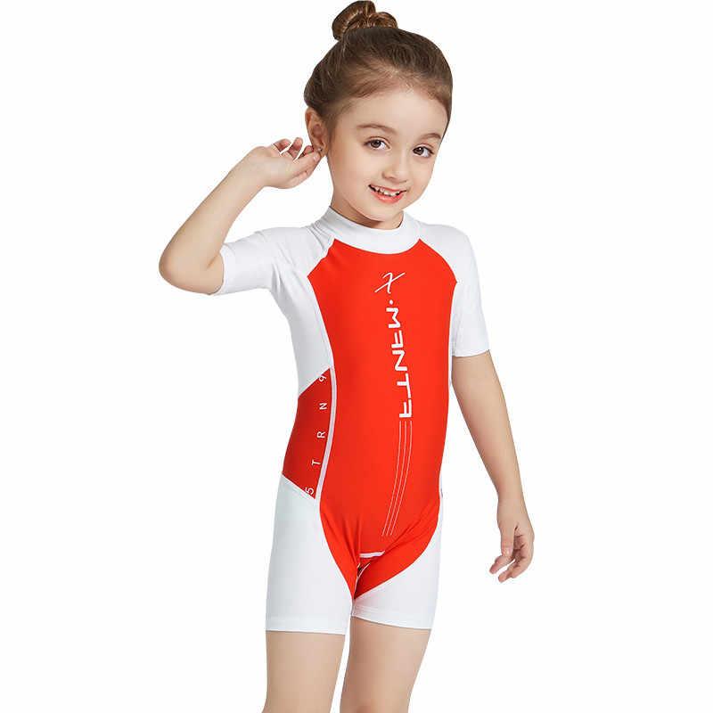 Perimedes Anak-anak Anak Laki-laki dan Perempuan Tabir Surya Baju Renang Lengan Pendek Baju Anti UV One Piece Cukup Tahan Lama Diving Berenang # g45