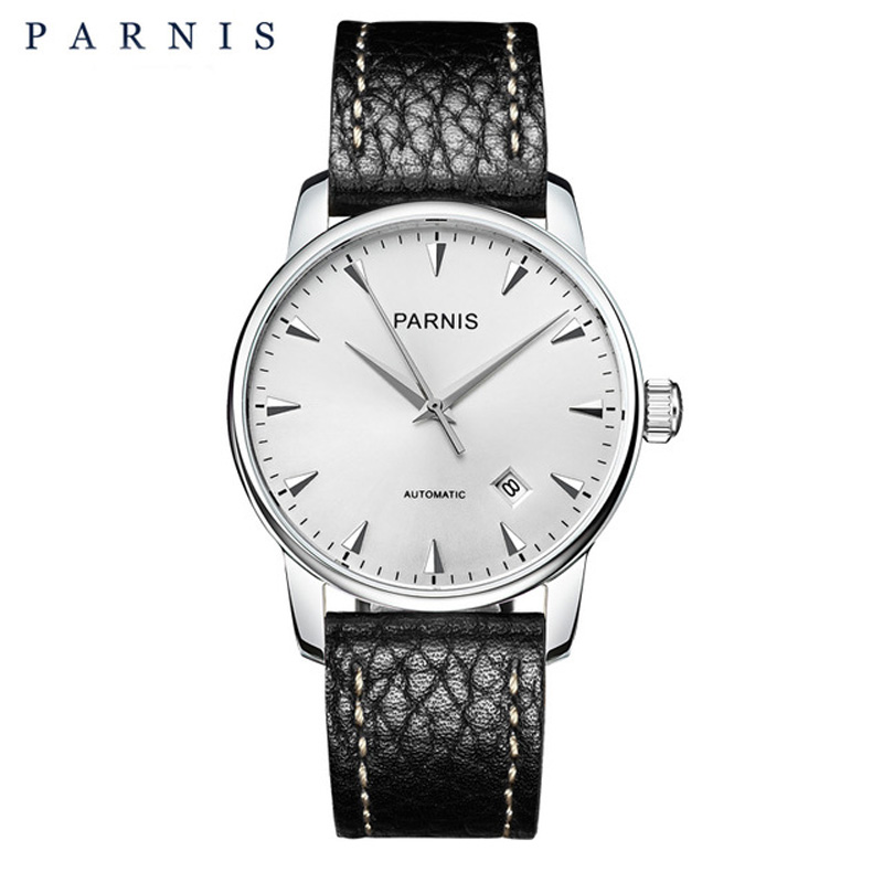 Fashion 38mm Parnis Men's Mechanical Watches Sapphire Auto-Date Leather Mens Automatic Watch Dress Style Men Wristwatch relogio image