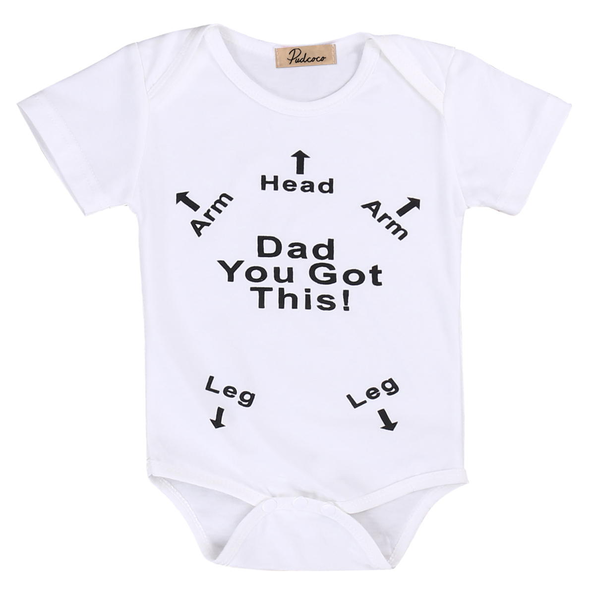 Pudcoco Newest For Newborn Baby Girls Boys Cotton Clothes O-Neck Short Sleeve Arrow Romper with White One-Pieces