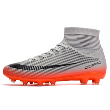 ZHENZU חיצוני גברים בני כדורגל נעלי כדורגל מגפיים גבוה קרסול ילדים סוליות אימון ספורט נעלי ספורט גודל 35 45 Dropshipping