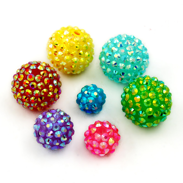 12MM choose color 50pcs Chunky Resin Rhinestone Beads Bling Round Ball Beads  for DIY Kid Necklace earring Jewelry findings a058aeec5dc9