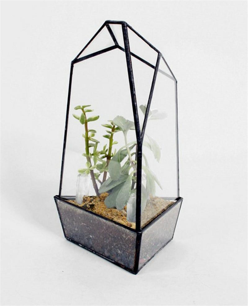minimalist geometric shaped table decor glass terrarium local tyrants black geometric glass. Black Bedroom Furniture Sets. Home Design Ideas