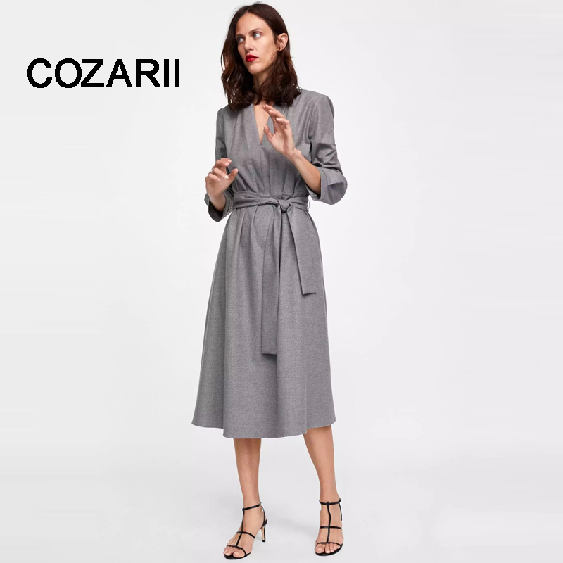 COZARII 2018 women dress vestido england style urban grey color Woollen midi dress collect waist vestidos verano plus size