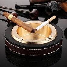 Alalinong LA02 Luxe Ovale Golden & Silver Sigaar Asbak Leer Metalen Asbakken Roken Kantoor Tafel Accessoires