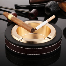 Alalinong LA02 Luxury Oval Golden & Silver Cigar Ashtray Leather Metal Ashtrays Smoking Office Table Accessories