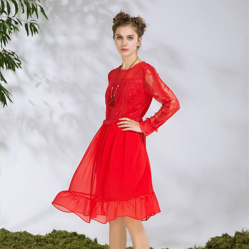 2018 Vestito Size Vestidos Di Plus Schiacciato Vita Tuniche Casuali S Primavera Merletto Rosso Signore Elegante 5xl Chiffon Del xxxxxl Modo Rappezzatura 3jq4RL5A