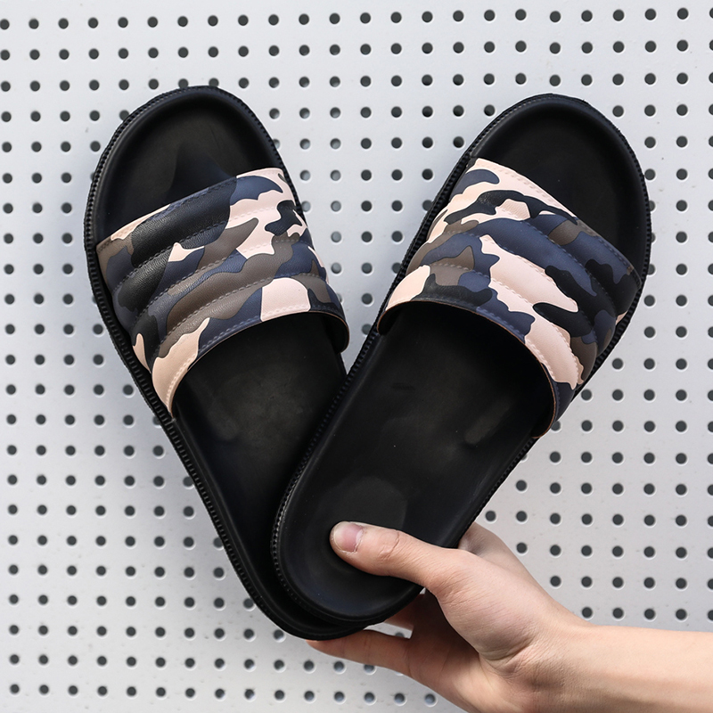 COOLVFATBO Men Slippers Camouflage Summer Flat Summer Men Shoes Breathable Beach Slippers Wedge Flip Flops Men Slides Slippers